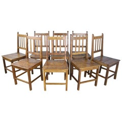 Set of 8 Country Oak Dining Chairs