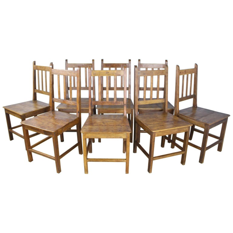 Set of 8 Country Oak Dining Chairs For Sale