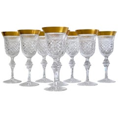 Set of 8 Crystal Wine Glasses Victoria Gold by Klokotschnik Zwiesel, Germany