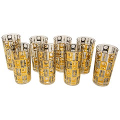 Set of 8 Culver Highball Glasses with 22-Karat Gold Design