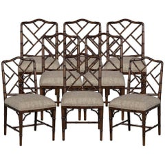 Set of 8 Custom Faux Bamboo Dining Chairs by Carrocel