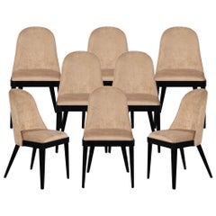 Set of 8 Custom Modern Dining Chairs in Tan Velvet by Carrocel