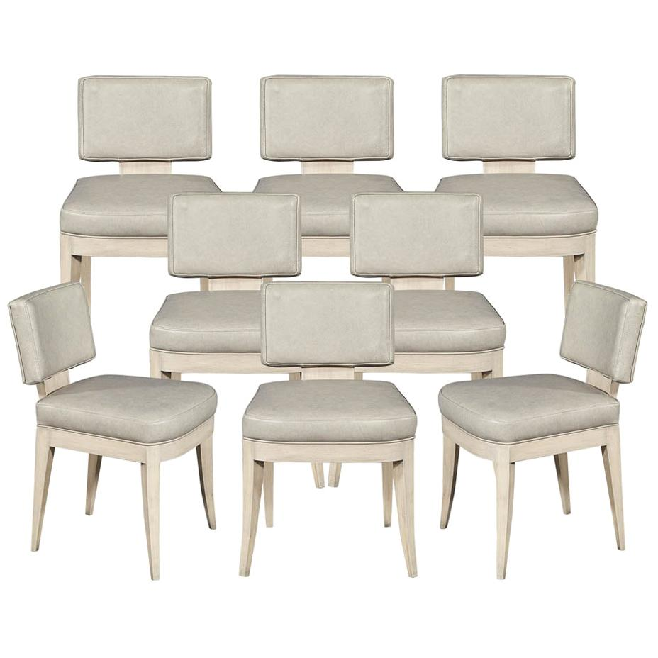 Set of 8 Custom Modern Leather Dining Chairs with Washed Finish