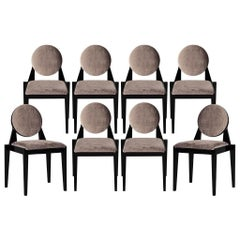 Set of 8 Custom Round Back Modern Art Deco Inspired Dining Chairs