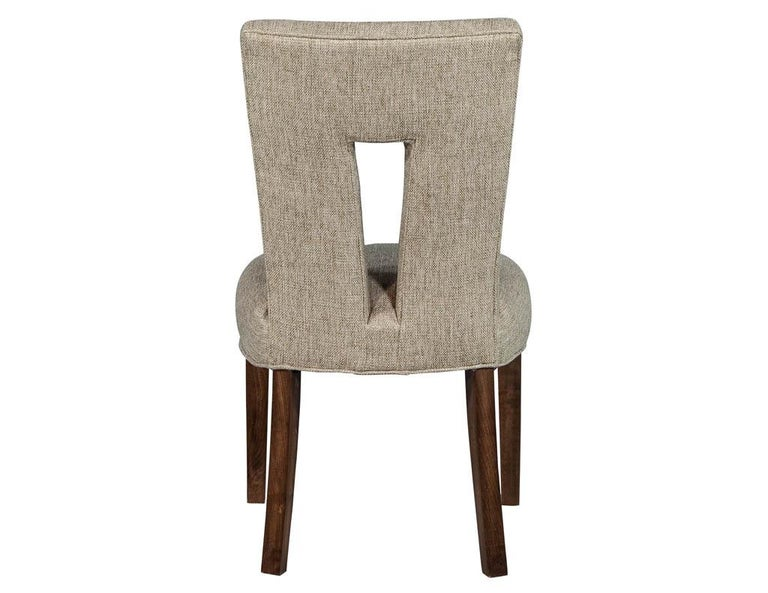 Fabric Set of 8 Custom Textured Dining Chairs by Carrocel For Sale