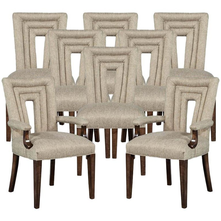 Set of 8 Custom Textured Dining Chairs by Carrocel For Sale