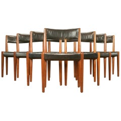 Set of 8 Danish 1950s Dining Chairs of Teak and Leather by Fritz Hansen
