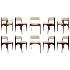 Set of 8 Danish Chairs and 2 Armchairs by Erik Buch, 1960s