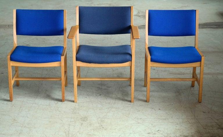 Wool Set of 8 Danish Hans Wegner Oak Dining Chairs for GETAMA For Sale