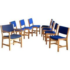 Set von Acht Dänischen Hans Wegner Eichen Esszimmerstühlen für GETAMA
