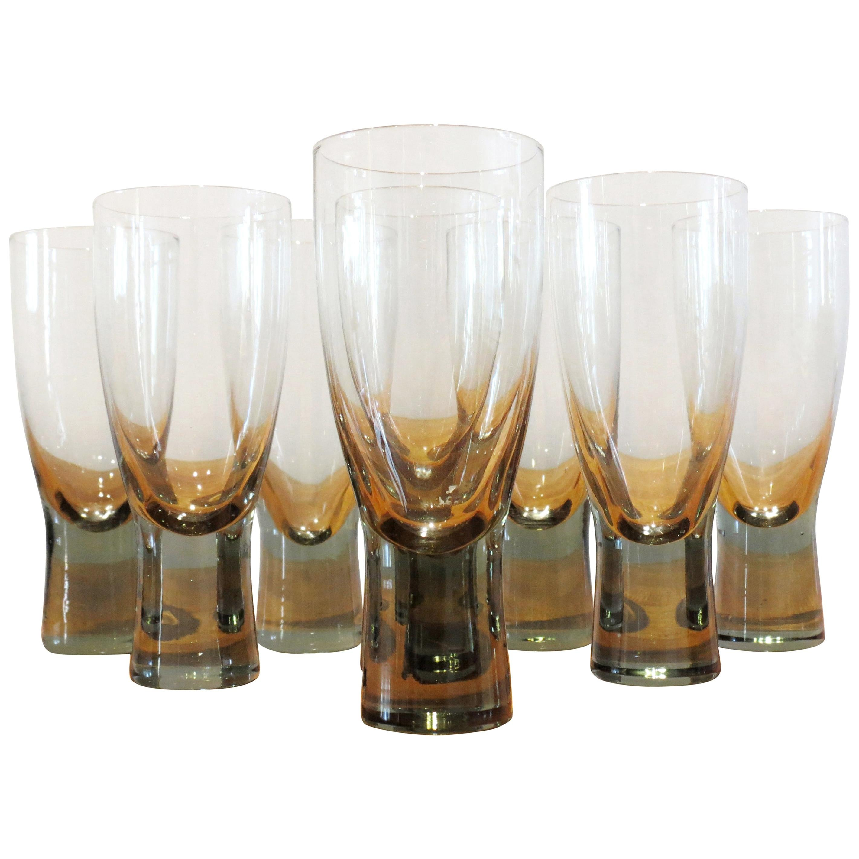 Set of 8 Danish Holmegaard Canada Smoked Glass Glasses by Per Lutken