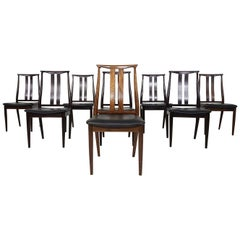Set of 8 Danish Modern Black Leather Dining Chairs, Denmark, 1960