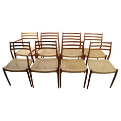 Set of 8 Danish Modern Dining Chairs by Neils O. Moller for Jl. Moller