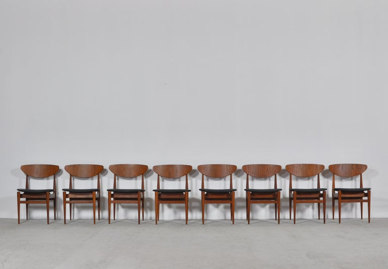 Set of 8 Danish Modern Dining Chairs Teak and Black Leather by Inge Rubino, 1963 For Sale 9
