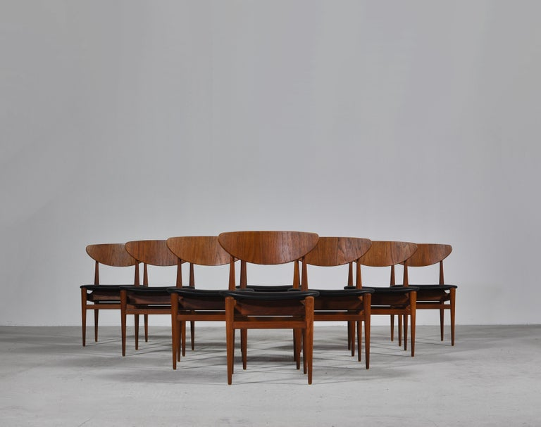 Set of 8 Danish Modern Dining Chairs Teak and Black Leather by Inge Rubino, 1963 In Good Condition For Sale In Odense, DK