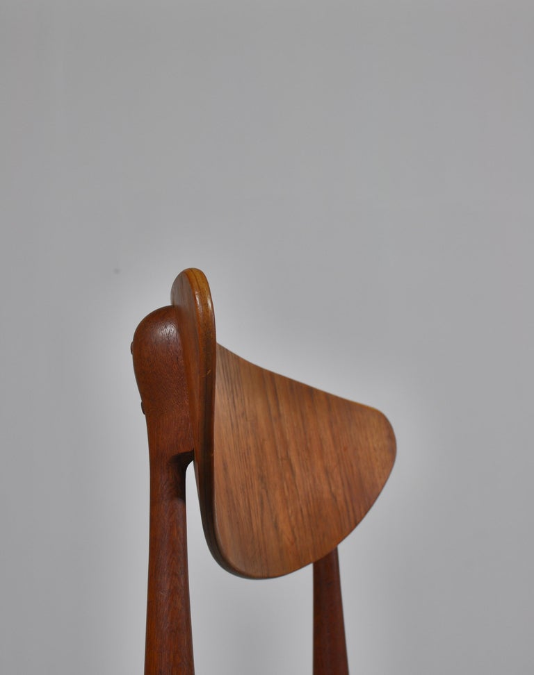 Set of 8 Danish Modern Dining Chairs Teak and Black Leather by Inge Rubino, 1963 For Sale 3