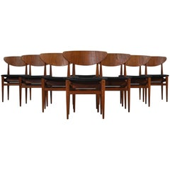 Set of 8 Danish Modern Dining Chairs Teak and Black Leather by Inge Rubino, 1963