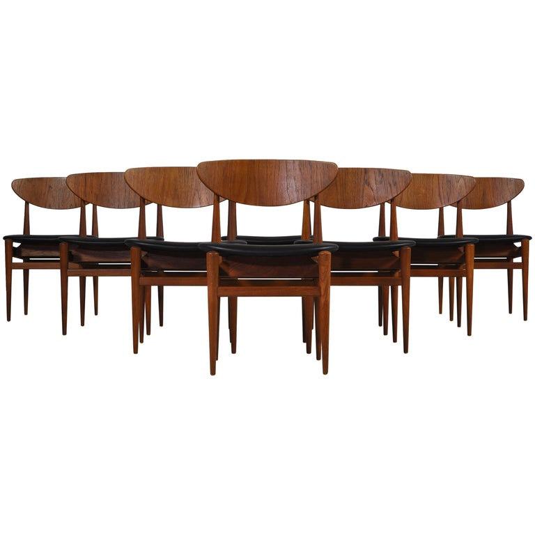 Set of 8 Danish Modern Dining Chairs Teak and Black Leather by Inge Rubino, 1963 For Sale