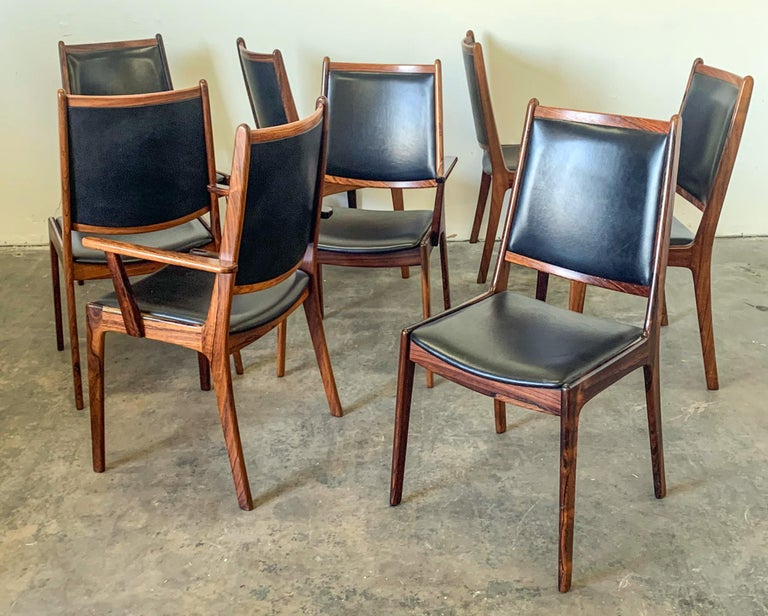 Mid-20th Century Set of 8 Danish Modern Rosewood and Leather Dining Chairs For Sale