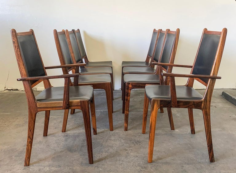 Set of 8 Danish Modern Rosewood and Leather Dining Chairs For Sale 1