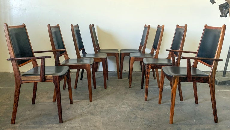 Set of 8 Danish Modern Rosewood and Leather Dining Chairs For Sale 2