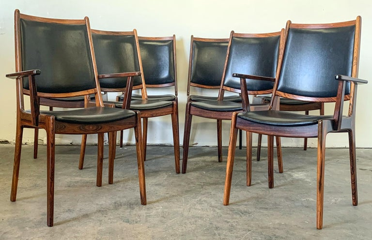 Set of 8 Danish Modern Rosewood and Leather Dining Chairs For Sale 3