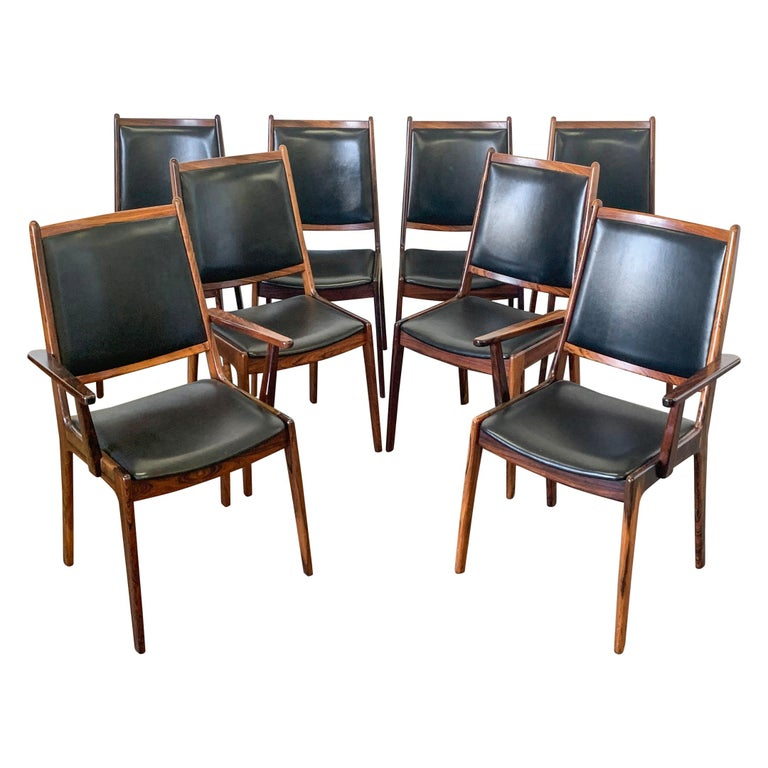 Set of 8 Danish Modern Rosewood and Leather Dining Chairs For Sale