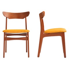 Set of 8 Danish Teak Dining Chairs in Mustard for Schionning & Elgaard