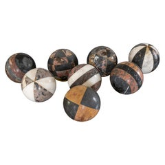 Set of 8 Decorative French Early 20th Century Marble Spheres Balls