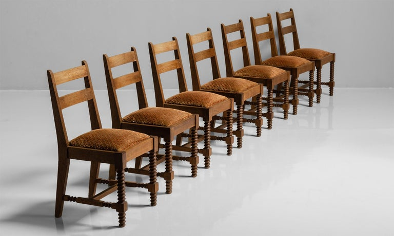 Embroidered Set of '8' Dining Chairs Attributed to Charles Dudouyt, France, circa 1930