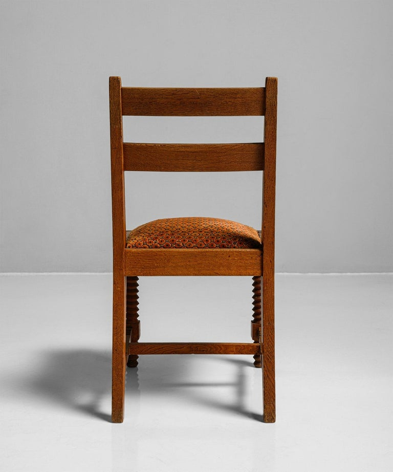 Oak Set of '8' Dining Chairs Attributed to Charles Dudouyt, France, circa 1930