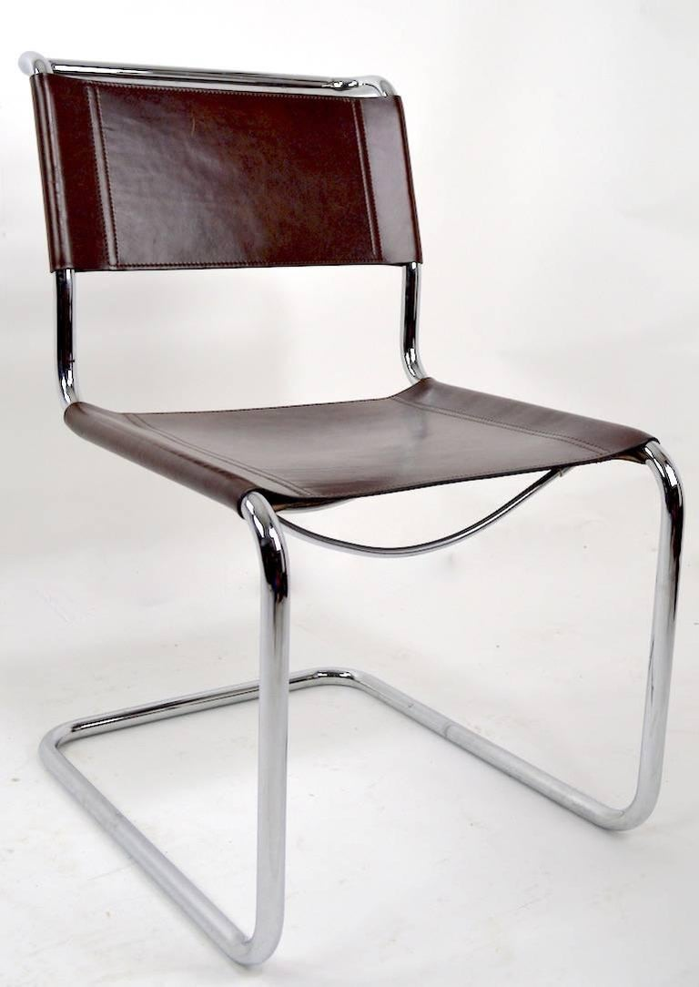 Great seat of Vintage Breuer design chairs with tubular chrome frames, and brown leather seats and backrests. Probably Italian manufacture form Knoll, unsigned. Hard to find a set of eight, stylish, clean, original set of dining chairs. Measures: