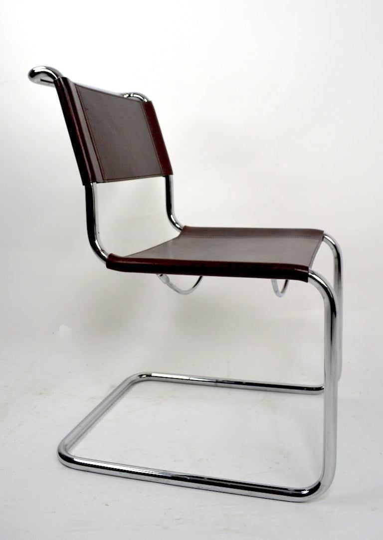 Italian Set of Eight Dining Chairs by Breuer in Chrome and Leather For Sale
