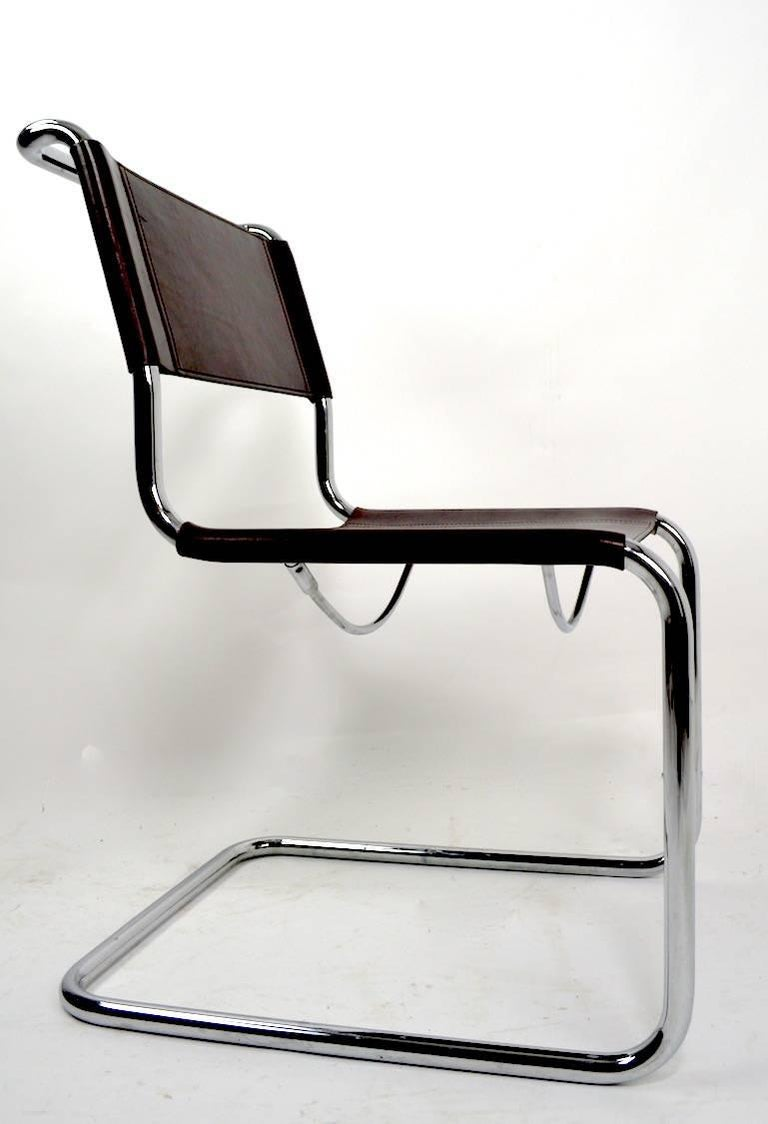 Set of Eight Dining Chairs by Breuer in Chrome and Leather In Good Condition For Sale In New York, NY