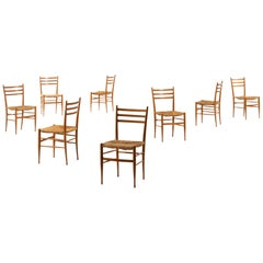 Set of 8 Dining Chairs in the Style of Gio Ponti Produced in Italy
