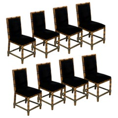 Set of 8 Dining Chairs of Faux Bamboo and Brass, France, 1960s