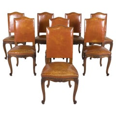 Set of 8 Early 20th Century French Louis XV Style Walnut and Leather Side Chairs