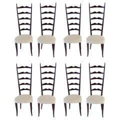 Set of 8 Ebonized Velvet High Back Chiavari Dining Chairs by Paolo Buffa, 1950