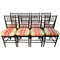 Set of 8 Ebony and Gilt Bamboo Style Side or Dining Chairs
