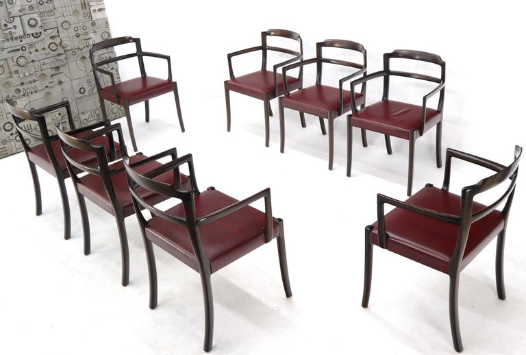 20th Century Set of 8 Eight Rosewood Danish Mid-Century Modern Dining Chairs with Arms For Sale