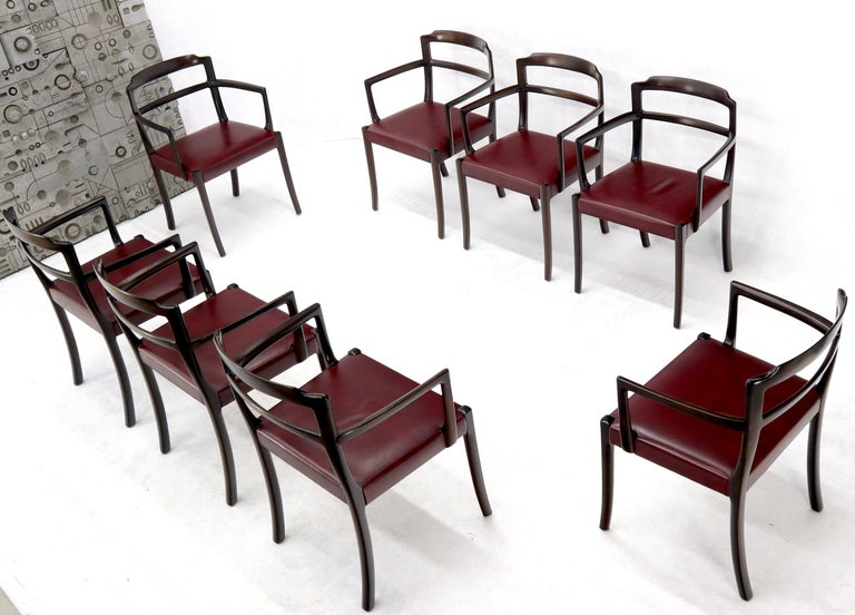 Set of 8 Eight Rosewood Danish Mid-Century Modern Dining Chairs with Arms For Sale 2