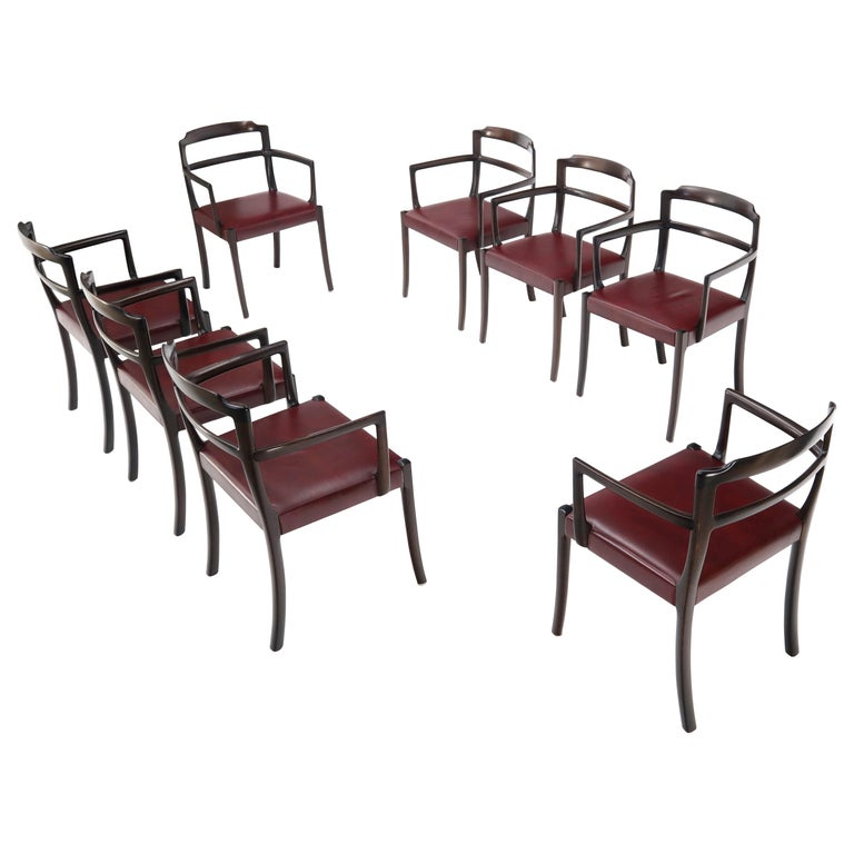 Set of 8 Eight Rosewood Danish Mid-Century Modern Dining Chairs with Arms For Sale