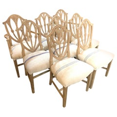 Set of 8 English Carved and White Washed Mahogany Dining Chairs