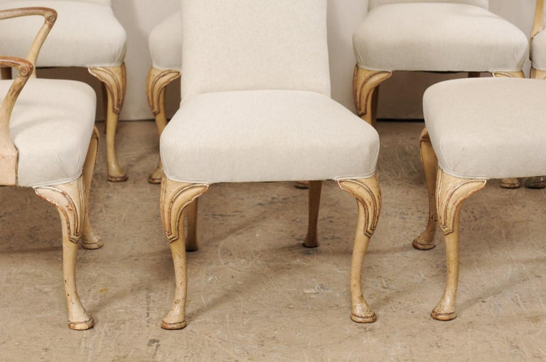 Set of 8 English Carved Wood Dining Chairs with Upholstered Seats, 19th Century 8