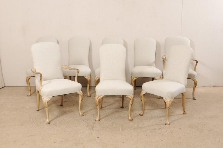 Set of 8 English Carved Wood Dining Chairs with Upholstered Seats, 19th Century In Good Condition In Atlanta, GA