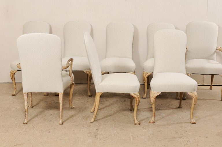 Set of 8 English Carved Wood Dining Chairs with Upholstered Seats, 19th Century 1