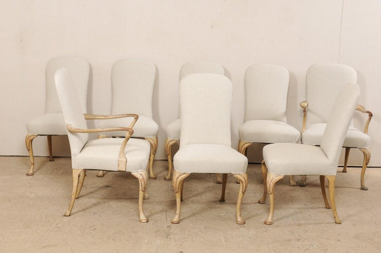 Set of 8 English Carved Wood Dining Chairs with Upholstered Seats, 19th Century 2