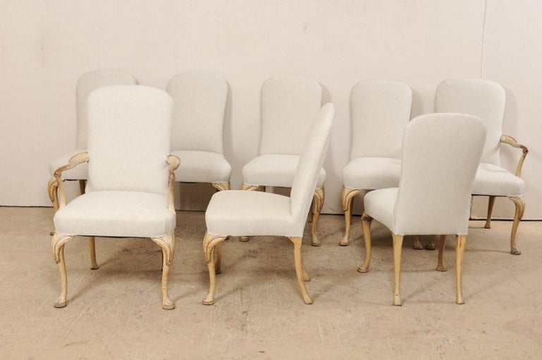 Set of 8 English Carved Wood Dining Chairs with Upholstered Seats, 19th Century 5