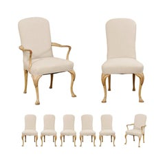 Set of 8 English Carved Wood Dining Chairs with Upholstered Seats, 19th Century