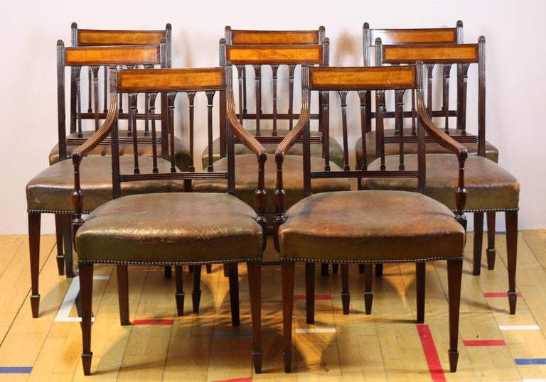 Leather Set of 8 English George III Dining Chairs circa 1780, Mahogany and Satinwood For Sale